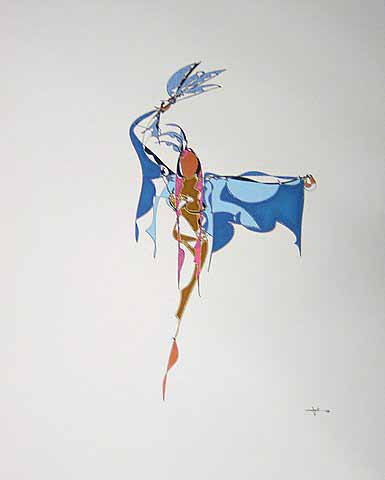 Derek Smalling   Fancy Shawl Dancer Northern Style   17x14 Ink Gel Acrylic Opaque On Cotton Paper