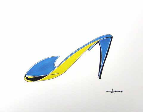 Derek Smalling   Yellow Turquoise Pump   8x10 Ink Gel Acrylic Opaque On Cotton Paper
