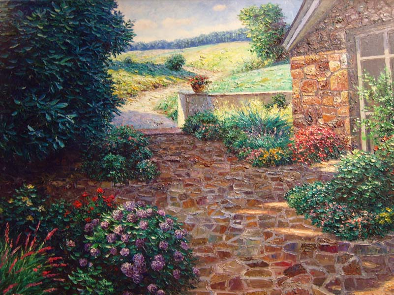 Henry Peters   Cottage Patio   36x48 Oil On Canvas