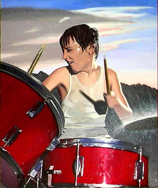 Roderick Stevens   Drumming In The Rain   30x36 Photorealism Giclee