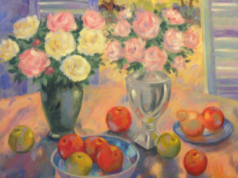 William Arden   Pink And Yellow Roses