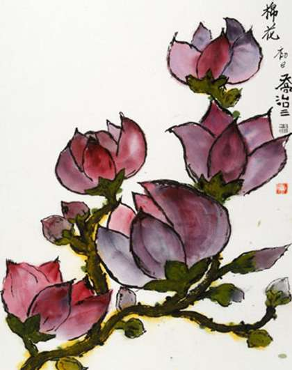 AllArtists_0025_George Elliot III - Magnolia 23x16 watercolor and ink on rice paper