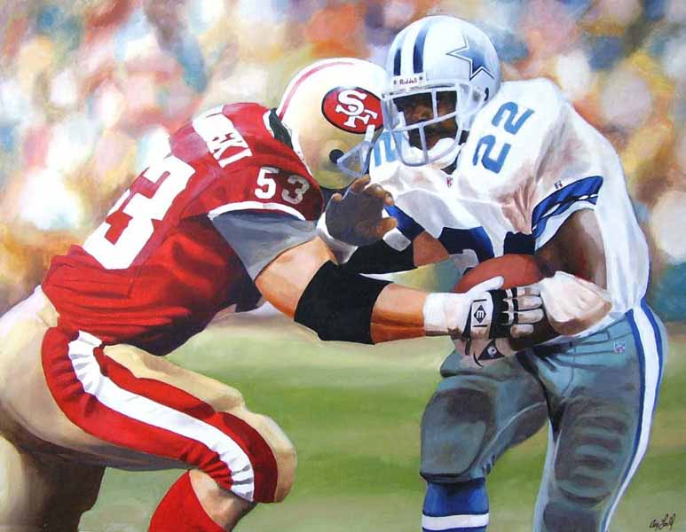 Craig Gould   Rushing For An NFC Title   Photorealism (oil On Canvas)