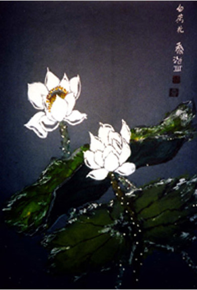 Lotus Flower 13x19 Watercolor Ink On Rice Paper