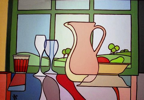 J Lynn Kelly   Still Life By Window 24x36 Oil On Canvas