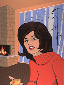 James Wolanin   Red Sweater   48x36 Acrylic On Wood Panel 6000