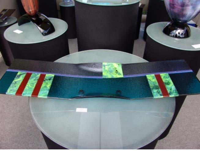 Laura Thompson   P 203 Platter   23x6x10 Cold Worked Glass