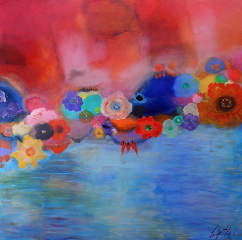 Michael Colpitts   Floating Flowers 38X38 Acrylic On Canvas