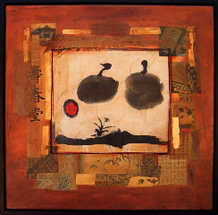 Michael Colpitts   Persimmons 22X22 Acrylic Mixed Media