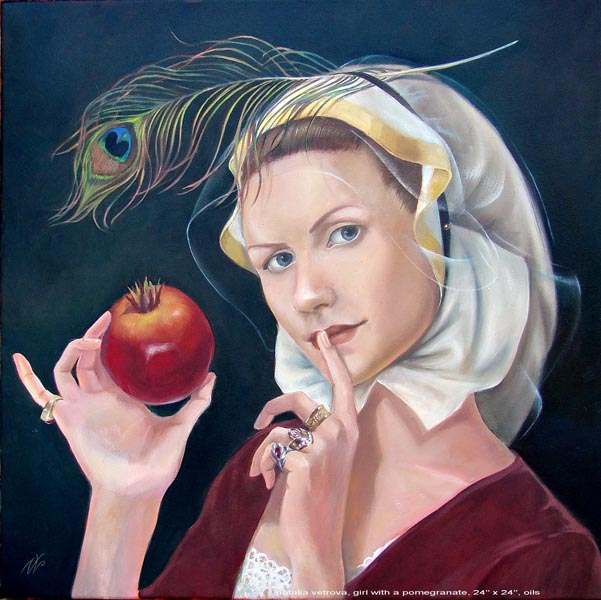 Girl With A Pomegranate 18x18in Oil