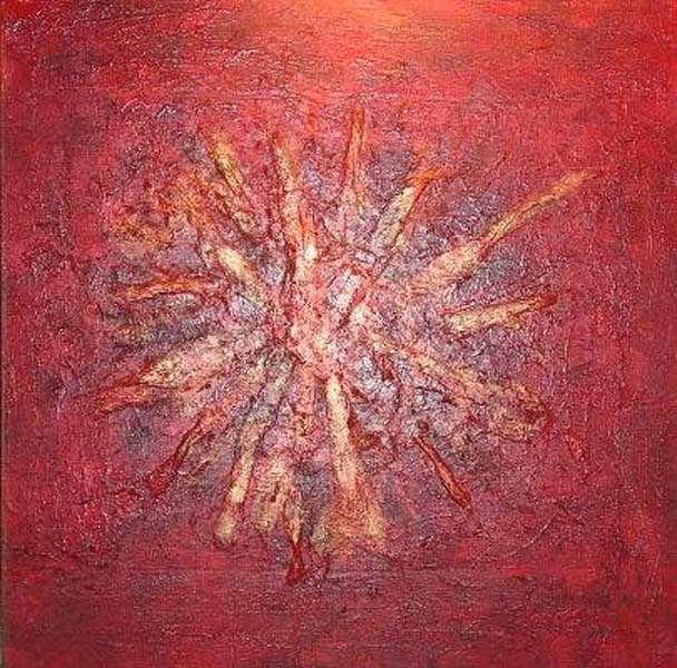 Randy Jacobs   Red Starburst   36x36   Acrylic Mixed Media