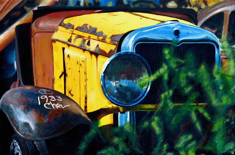 Roderick Stevens   33 Yellow Car   24x16 Photorealism Giclee