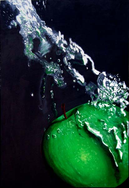 Roderick Stevens   Apple Splash Black  24x26 Photorealism Giclee