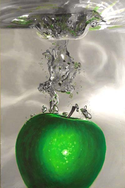 Roderick Stevens   Apple Splash White 24x26 Photorealism Giclee