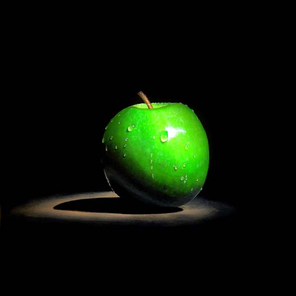 Roderick Stevens   Green Apple Temp 30x30 Photorealism Giclee