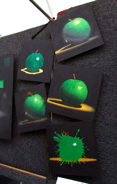 Roderick Stevens   Green Apple (set Of Four) 10x10 Photorealism Giclee