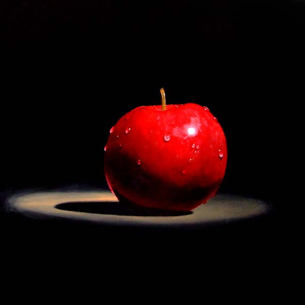 Roderick Stevens   Red Apple Temp  30x30 Photorealism Giclee