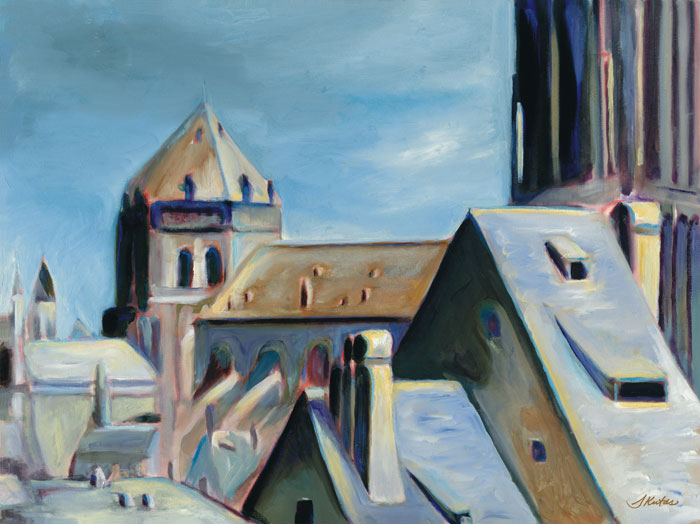 Sandra Kutas   Provential Rooftops   22x28 Canvas Giclee   $289