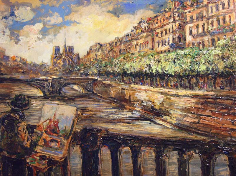 Tatiana Rhinevault   Painting On The Seine 18x24 Oil On Canvas