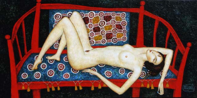 Laying On A Bench 50x100cm Acrylic On Canvas I5