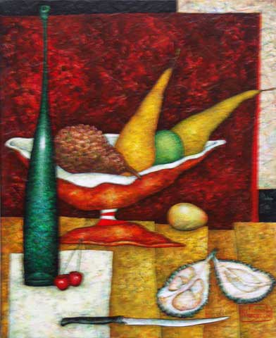 Still Life With Exotic Fruit 46x38cm Acrylic On Canvas I11