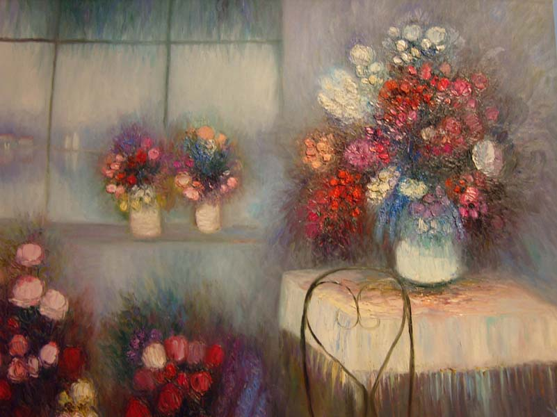 Yoli   Flowers By A Window   40x30 Oil On Canvas