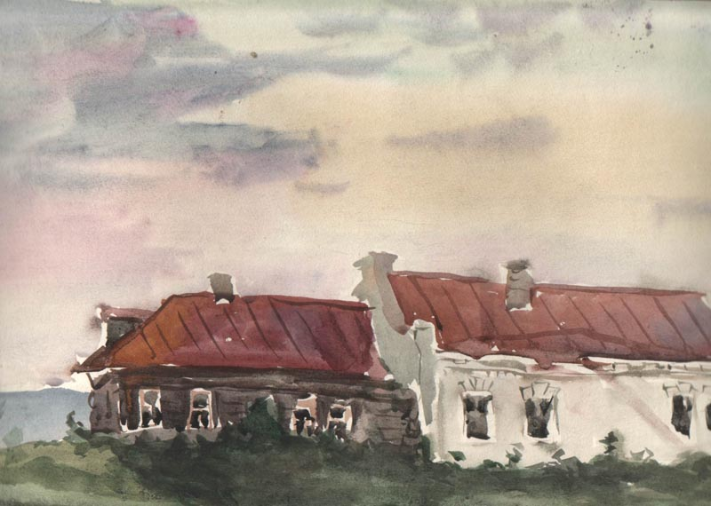 1957 – An Evening In The Village, Paper, Watercolour, 8x16