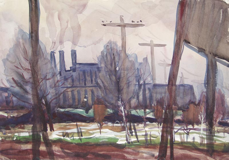 1958– View At The Factory, Paper, Watercolour, 11x17