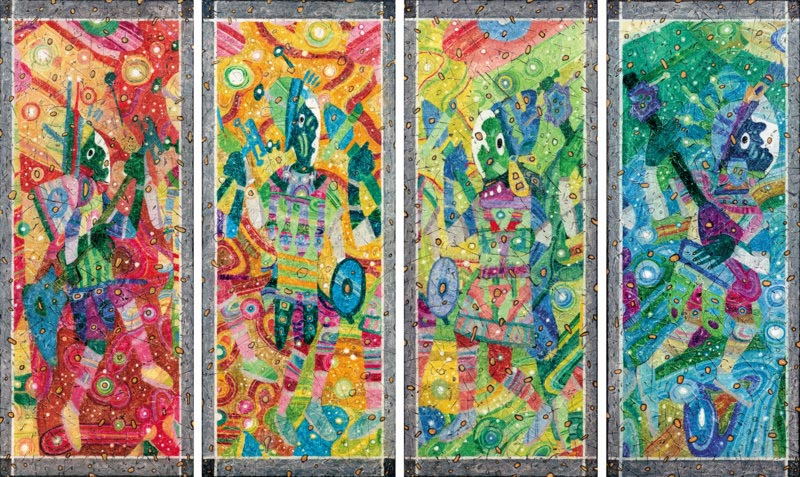Early Reincarnation Of  The Beatles   Quadriptych   1998   Canvas Mixed Media   80x100