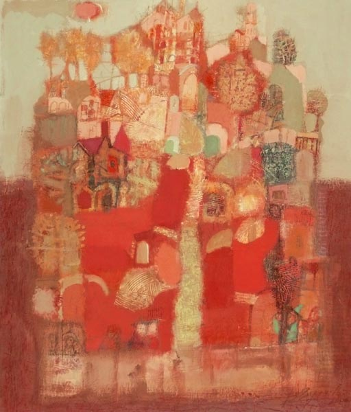 Red Garden   24x21inch   62x53cm  Paper Mixed Media   2006