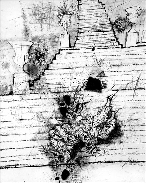 Staircase   20x17inch   50x45cm   Paper Ink Coal   2003